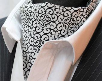 Cravat Ascot UK Made Black & White Geometric 'Jackal' + Hanky.Premium Cotton.