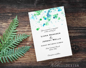 Watercolor Wedding Invitation, Paint Splatter, unique blue green printable digital download card or printed and shipped, custom colors