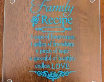 Small Family Receipe Cutting Board