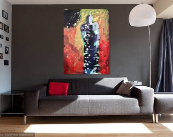 night figure art, abstract art painting, figurative art work, best friend gift, gift for her, abstract art form, acrylic figurative art