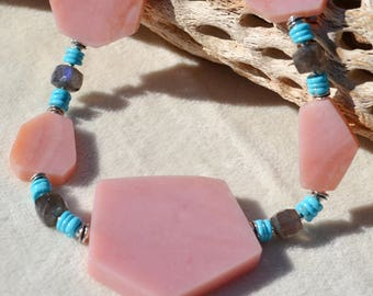 FANTASIA-Handmade Rhodochrosite, Turquoise, Labradorite and Sterling Silver Necklace