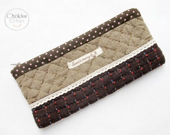 Quilted pencil case, quilt bag, hand quilted bag,Small phone case.