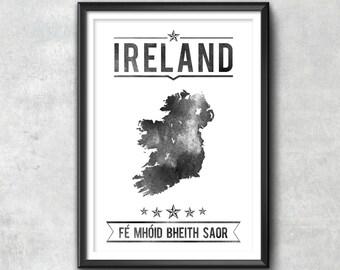 IRELAND Typography Print, Ireland Poster, Ireland Wall Art, Ireland Gift, Ireland Decor, Ireland Print, Ireland Map, Ireland Decor, Ireland