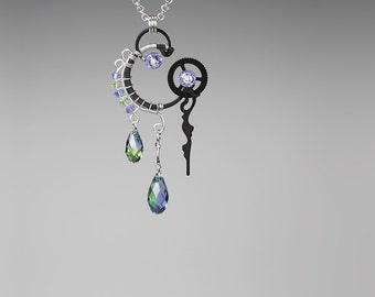 Swarovski Crystal Steampunk Pendant, Swarovski Necklace, Purple Crystal, Green Crystal, Bridal Jewelry, Wire Wrapped Jewelry, Aglaea v6