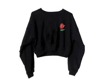 Tulip Cropped Sweatshirt-Black Sweater-Embroidered American Apparel Fleece Sweatshirt