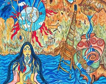 Bandelier Dream, Art Print of the Dream Time Sacred Art Journey, Illustration, Pen and Ink.