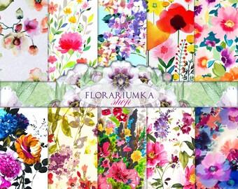 Watercolor Floral Backgrounds Download  Floral Paper Digital  Floral Scrapbook Download  Watercolor Floral scrapbook Digital Printable F-162