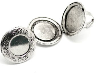 Locket Ring Antiqued Silver Adjustable Ring Cabochon Setting Photo Locket