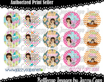 "SALE Printed - Precut: Free Spirit Native Princess - 2369 - 1"" bottle cap designs - bottle cap crafts - bottle cap ideas"