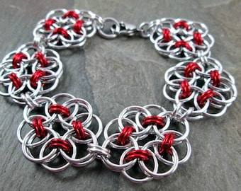 Chainmaille Bracelet - Helm Weave - Red and Silver - Chainmail Jewelry - Chain Mail Bracelet - Chainmaille Jewelry