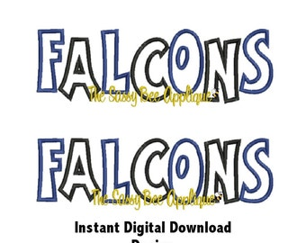 DD FALCONS Team Name Casual Applique - Machine Embroidery Design - 3 Sizes - Includes Staggered & Straight Designs - Instant Download