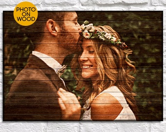 Personalised wedding gift for couple gift Wedding Photo on wood gift for Men gift for Bridal shower gift for Women Panel effect Wood sign