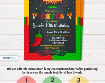 Mexican dinner party etsy fiesta invitations fiesta party invitation fiesta birthday invitations fiesta party supplies instant stopboris Image collections