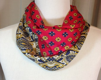 Red Gold and Navy Blue Paisley Scarf by Symphony with Hand Rolled Hem 25.75 Inches by 26.25 Inches Previously 18 Dollars ON SALE