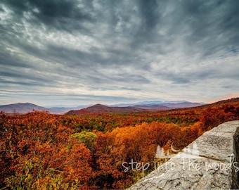 Blue Ridge Parkway Lookout; Landscape, Nature Photography, Blue Ridge Mountains, Autumn Leaves, North Carolina, Mountain Print, Fall Trees