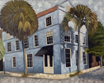 Painting of Blue House, cityscape, architecture, oil painting by Velma Serrano
