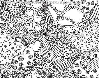 The Hearts Have It printable adult coloring page, printable adult colouring sheets