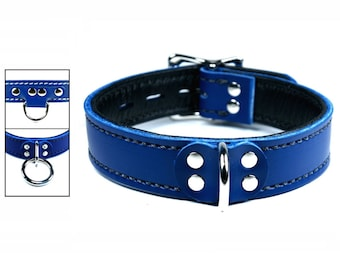 Blue Latigo Collar with Black Lining and Locking Buckle - Your Choice of Front and Stitching