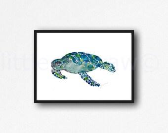 Sea Turtle Print Watercolor Painting Print Blue Green Sea Turtle Decor Beach Decor Nautical Print Wall Art Bathroom Wall Decor Art Print