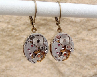 Vintage Watch Movement Oval Earrings