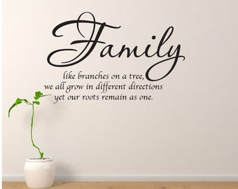 """Family Wall Decal Family Like Branches On A Tree Wall Quote 20""""x30"""" Vinyl Wall Quote Wall Decal Home Decor Vinyl Lettering"""