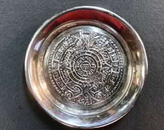 Sterling Silver Aztec Calendar Dish-Mexico . Free shipping.