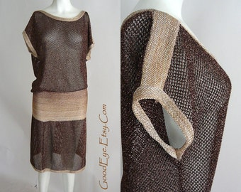 Vintage MISSONI Sweater Dress BRONZE Metallic Knit Sheer 1990s Short STRETCHY Lurex Made in Italy Medium small 6 8 10