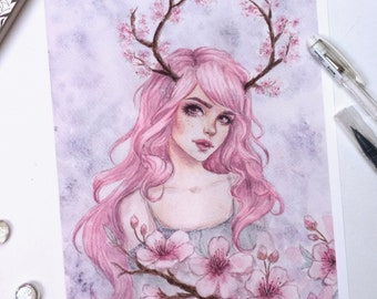Cherry blossom antlers Art print