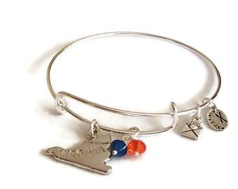 Adjustable Bangle Bracelet Virginia. Adjustable Bangle Charm Bracelet. Virginia. School Jewelry WaHooWa BB8