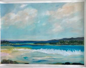 Coastal Beach 1 Original Painting on 24x18 Paper by Karen Fields