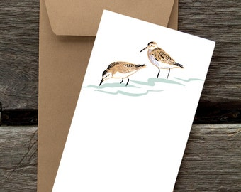 BF106: Sandpipers - 8 Blank flat cards and envelopes