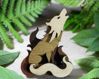 Wolf Brooch - Woodland Collection