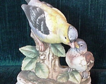 Porcelain Goldfinch with Baby, Kelvin Fine China