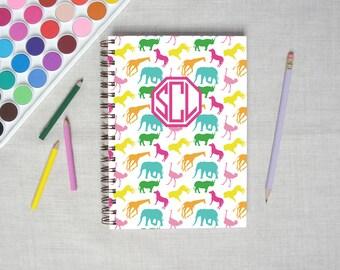 Safari Animal   Spiral Hardback Personalized Journal   Monogram Journal   Kids Journal   Artist Notebook   Gift for Kids   Custom Blank