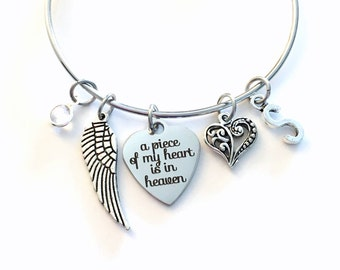 Memorial Present, A Piece of My Heart is in Heaven Stainless Steel Bracelet, Loss of Mom Dad Brother Sister Son Jewelry Guardian Angel Wing