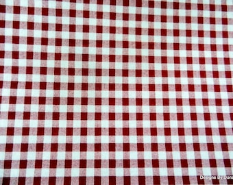 One Fat Quarter Cut Quilt Fabric, 1/4 inch Cranberry Red Gingham, Sewing-Quilting-Crafting Supplies