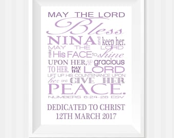 Numbers 6:24-26, May The Lord Bless You Bible Verse Wall Art, Wall Art, Scripture Art,  Baby Girl Nursery, Personalized Gift, Religious Art
