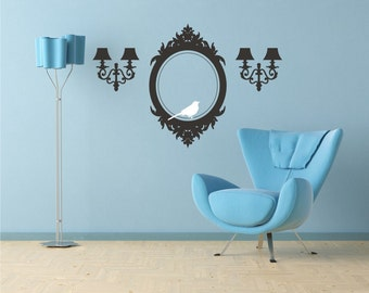 Frame and Sconces Wall Decals Elegant Accents - Vinyl Wall Stickers Art Custom Home Decor