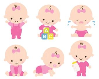 baby shower clipart clip art baby boy girl clipart cute baby rh etsy com baby girl clip art images free free baby girl clipart images