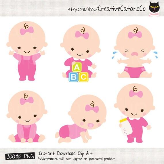 baby girl clipart baby girl clip art baby girl shower clipart rh etsy com Baby Girl Clip Art Borders Newborn Baby Girl Clip Art