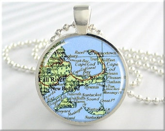 Cape Cod Map Pendant, Resin Charm, Massachusetts Map Necklace, Picture Jewelry, Round Silver, Gift Under 20, Travel Gift 429RS