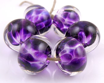 African Violet Encased SRA Lampwork Handmade Artisan Glass Donut/Round Beads Made to Order Set of 6 10x15mm