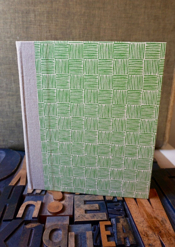 Photo Album - Large with Green Basket Weave Pattern