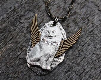 Cat Angel Necklace, Cat Jewelry, Cat with Wings Necklace
