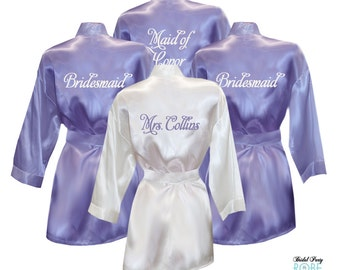 Set of 4 Personalized Satin Robes with Embroidery on Back - Bridal Party Robes, Bridesmaid Robes, Bride Robe, Satin Robe, Bridal Kimono robe