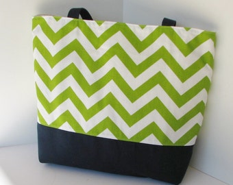 Chevron Tote Bag . Chartreuse Navy Blue . Standard size . handmade Chevron beach bag . great bridesmaid gift  . Monogram Available