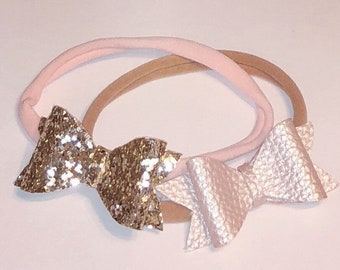Custom glitter and faux leather bow headbands