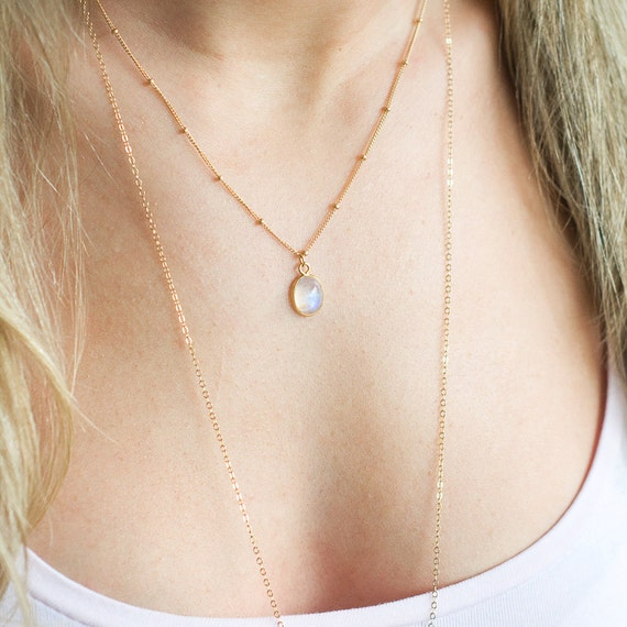Dainty Rainbow Moonstone on Satellite Chain