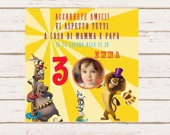 Madagascar 3 Personalized Birthday Invitation, DIY Party Printable, Invite Card