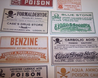 Poison and Medicine Halloween Label Stickers set of 17